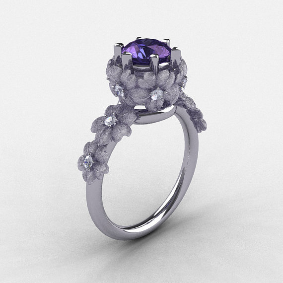 14K White Gold Alexandrite Diamond Flower Wedding Ring, Engagement Ring NN109S-14KWGDAL