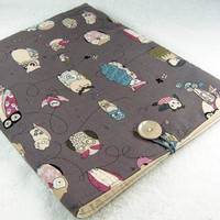 iPad Case, iPad Sleeve, iPad Cover, Handmade Case, iPad 1 2 Padded, Kindle DX case - Cozy holder techee grey teal owls - Étui