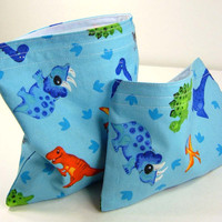 Reusable Sandwich bag and Snack Bag Set - Dinosaurs Blue Party Favor Crayon Pouch Boy Kid Children Washable cloth - 2 sacs