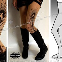 Small/Medium sexy MINI and BOOTS peacock FEATHER tattoo stockings / full length / pantyhose / nylons Cafe Latte