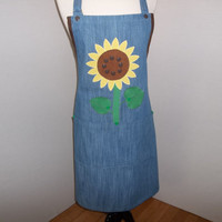 Sunflower on Denim Apron     O.O.A.K.