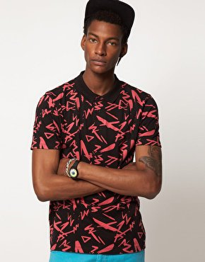 ASOS Polo With All Over Print at asos.com