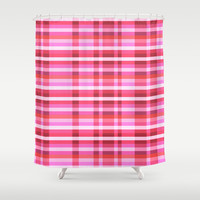 Pink Plaid Shower Curtain by Jaymee
