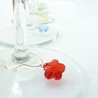 Flower wine glass charms, wine glass markers made with Swarovski crystals - Set of 6