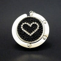 Cupchain Heart foldable bag hanger made with Swarovski flatback crystals