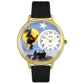 SheilaShrubs.com: Whimsical Unisex Halloween Flying Witch Black Skin Leather Watch DDDSD557988 by Whimsical Watches : Watches