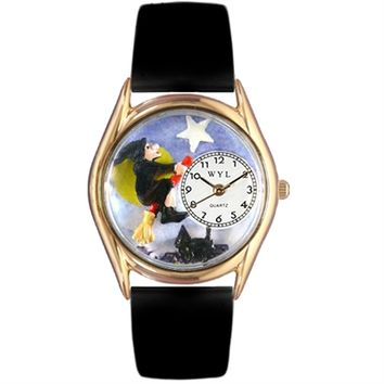 SheilaShrubs.com: Whimsical Womens Halloween Flying Witch Black Leather Watch DDDSD557940 by Whimsical Watches : Watches