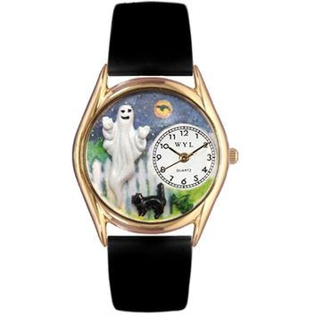 SheilaShrubs.com: Whimsical Womens Halloween Ghost Black Leather Watch DDDSD557652 by Whimsical Watches : Watches