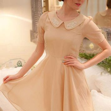 Pale Pink Short Sleeve Dress with Embellished Collar