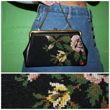 Vintage 60s Floral Needlepoint Purse, Black Tapestry Clutch / Evening Bag
