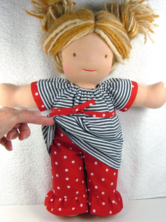 Waldorf doll Dress, Sash and Ruffled Pants set - Bamboletta 15/16 inch doll clothes clothing stripes white black red - Ensemble 3 pcs poupée