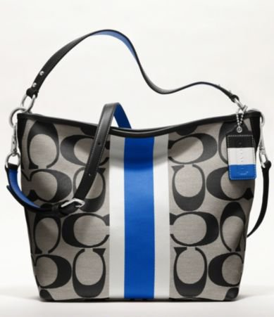 COACH HAMPTONS WEEKEND SIGNATURE STRIPE SHOULDER BAG | Dillards.com