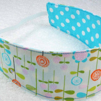 Child reversible headband - Riley Blake Happier flowers dots blue orange white green cotton toddler baby girly - Bandeau fillette