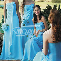 Buy Flattering Blue A-line Strapless Flower Chiffon Bridesmaid Dress under 200-SinoAnt.com