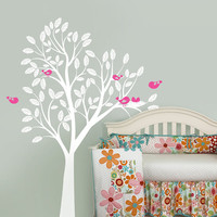 Cute Tree with Birds and Nest Decal,  Nursery Tree Wall Vinyl