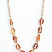 helena -vintage tortoise faceted acrylic and gold plated necklace