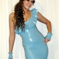 Latex Ruffle Dress with Swarovski Crystals.