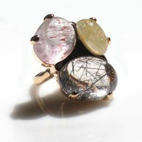 3 Stone Rutilated Quartz Ring