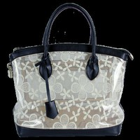 Lace Clear Plastic Handbags Black Diamond Heart-Ecosusi