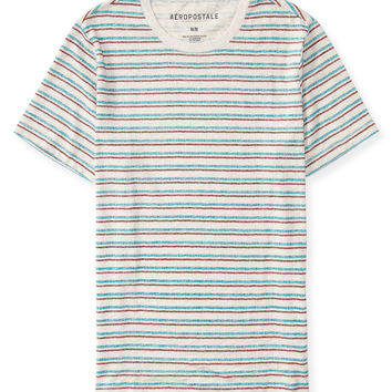 Aeropostale Scratch Color Stripe Tee - Straw Heather,