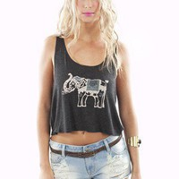 John Galt by Brandy Melville Elephant Crop Tank | MessesOfDresses.com
