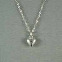 Tiny Silver Heart Necklace, 925 Sterling Silver, Modern, Simple, Delicate, Everyday Wear Jewelry