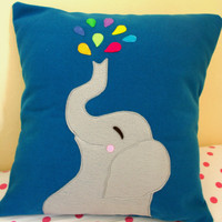 "Rain Days Decor - Happy Elephant with Umbrella - 18"" Pillow Cover"