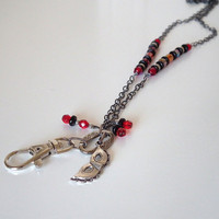 Silver Chain ID Lanyard. Masquarade Mask.Red Black Czech Glass Beads. Gunmetal Chain