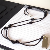 Beaded Lanyard, ID Badge Holder, Simple Black Beads,Silver Badge Clip