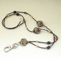 Black Tan Bumpy Lampwork Beaded Break Away ID Badge Lanyard