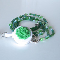 Beaded ID Badge Lanyard. Green Rose Cabochon, Retractable Badge Reel
