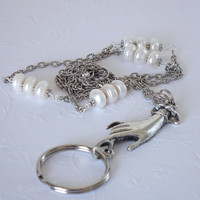Chain Lanyard, Hand Charm, Button Pearls