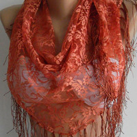 Copper Color -- lace and Elegance Shawl - Scarf -- with Lace Edge..