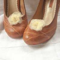 Flower shoe clips - wrapped ivory organza roses with bead centre detail, small