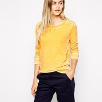 American Vintage Round Neck Long Sleeve Sweatshirt - Yellow melange