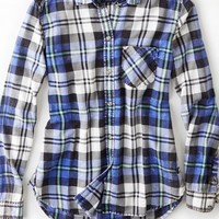 AEO 's Plaid Flannel Boyfriend Shirt (Blue)