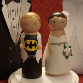 Custom Superhero  and his Bride Cake Topper-Batman, Superman, Thor, Captain America,  Ironman -Personalized for You