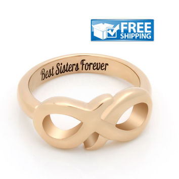 "Sister Gift - Delicate Infinity Ring Engraved on Inside with ""Best Sisters Forever"", Sizes 6 to 9"