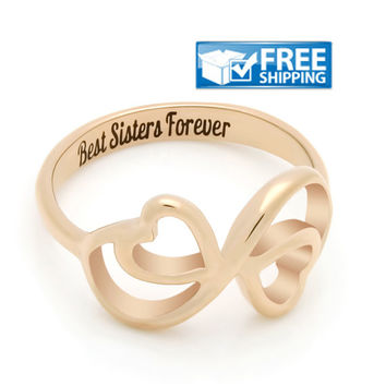 "Sister Gift - Double Hearts Promise Sister Ring Engraved on Inside with ""Best Sisters Forever"", Sizes 6 to 9"