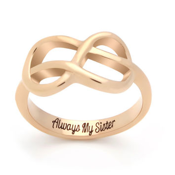 "Sister Infinity Ring, Infinity Symbol Ring ""Always My Sister"" Engraved on Inside Best Gift for Sister"