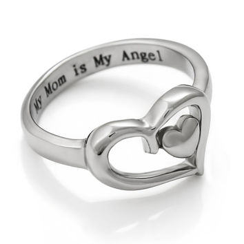 """Mom Ring Double Heart Purity Mothers Ring Gift For Mother - """"My Mom is My Angel"""" Engraved"""