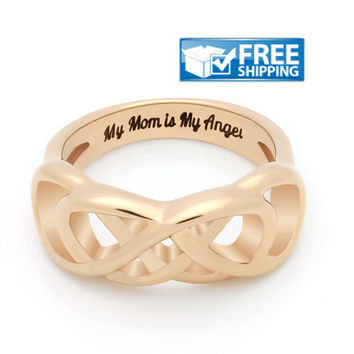 """Mother Ring - Double Infinity Promise Mother Ring Engraved on Inside with """"My Mom is My Angel"""", Sizes 6 to 9"""