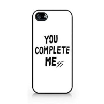 You Complete Me - You Complete Mess - WHITE - iPhone 4/4S - Hard Plastic Phone Case - Black Phone Case