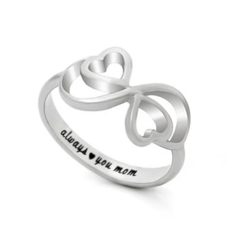 """Double Hearts Infinity Ring, Mothers Ring, Promise Ring """"Always Love You My Mom"""""""