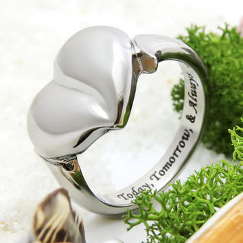 """Promise Ring,Poesy Ring Love Heart """"Today,Tomorrow & Always"""" Gift for Girlfriend"""