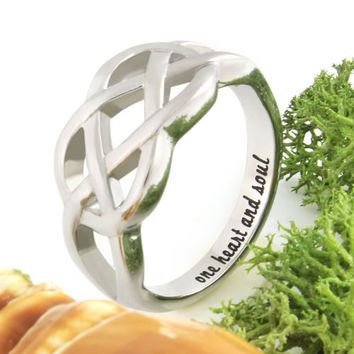 """Double Infinity Ring Love Ring """"One Heart And Soul"""" Secret Message Ring"""