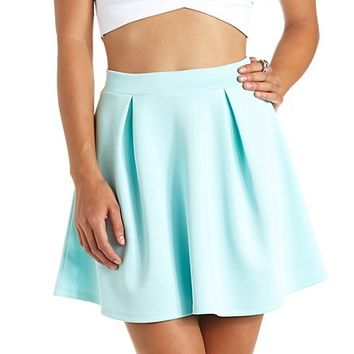 PLEATED HIGH-WAISTED SKATER SKIRT