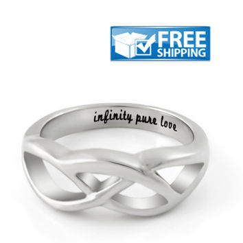 """Infinity Ring Love Ring """"Infinity Pure Love"""" Engraved on Inside"""