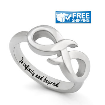 """Love Gift - Infinity Promise Couples Ring Engraved on Inside with """"To Infinity and Beyond"""", Sizes 6 to 9"""