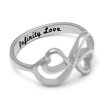 """Infinity Ring - Love Ring Engraved on Inside with """"Infinity Love"""", Sizes 6 to 9"""